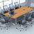 Mesa de reunião Retangular com estrutura em aço